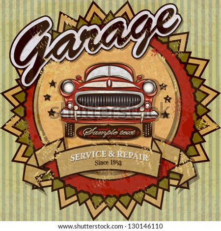 Vintage automotive label - stock vector