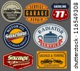 Vintage automotive labels and signs set. - stock vector