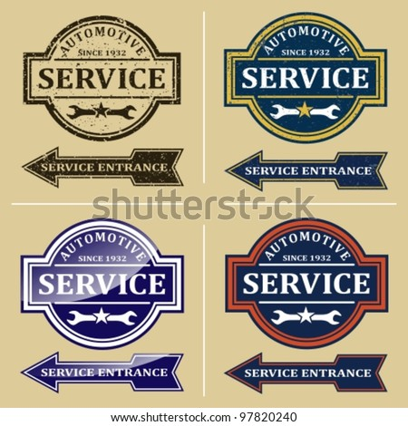 Vintage automotive repair shop sign. Signs and labels. - stock vector