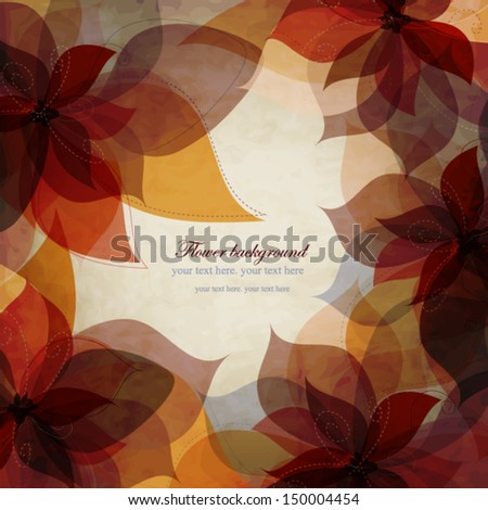 Vintage autumn floral background, card with brown-orange flowers, wedding invitation - stock vector