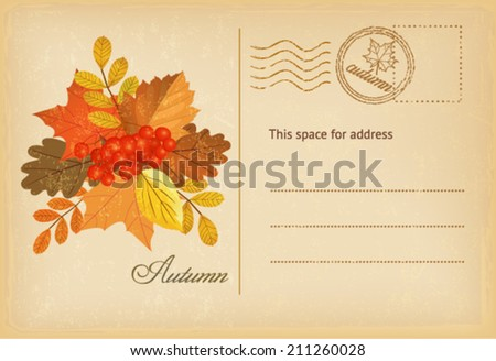vintage autumn postcard  - stock vector