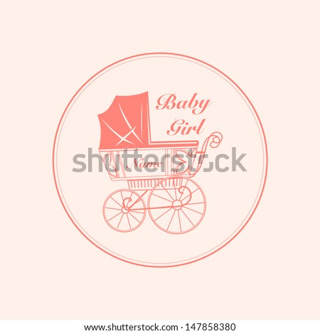 vintage baby carriage - stock vector