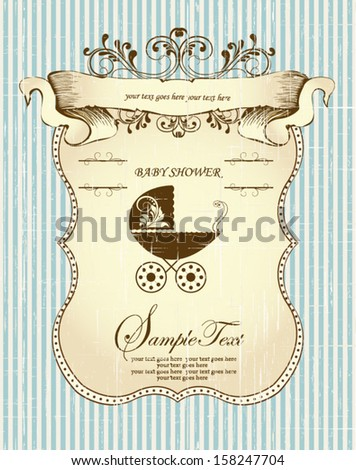 Vintage Baby Shower Announcement Card - stock vector