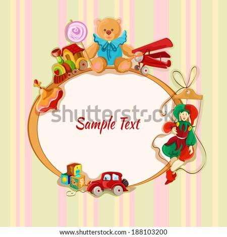 Vintage baby toys sketch frame postcard with peg top train lollypop teddy bear vector illustration - stock vector