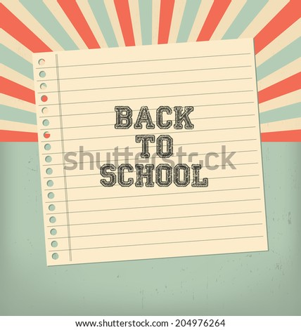 Vintage Back to School Design - stock vector