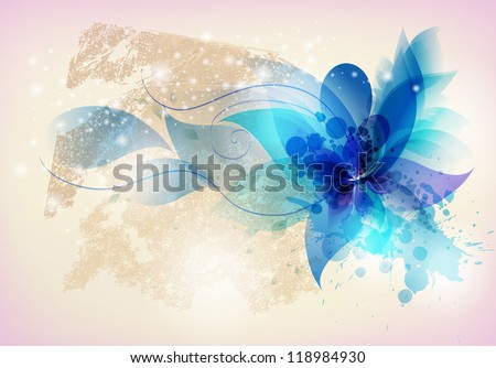 vintage Background abstract flower with colorful blots. - stock vector