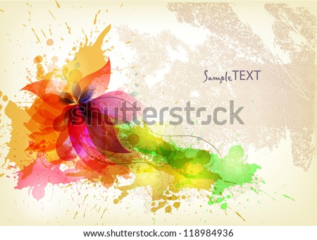 vintage Background abstract flower with colorful blots. Vector design