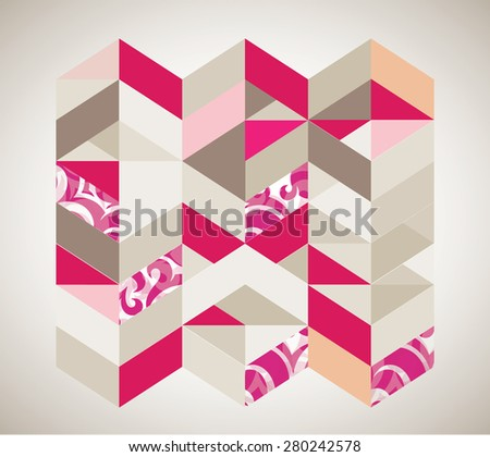 Vintage Background and Pattern - Camel and Pink - stock vector