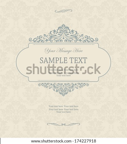 Vintage background, antique greeting card, invitation with victorian ornaments, beautiful, luxury postcard  - stock vector