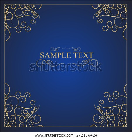 Vintage background, antique, victorian gold ornament, baroque frame, beautiful old paper, card, ornate cover page, label; floral luxury ornamental pattern template for design. EPS 10 - stock vector