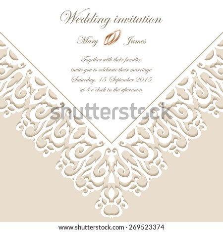Vintage background baroque pattern for wedding card or invitation - stock vector