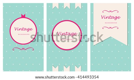 vintage background card in green pastel color with pink banner