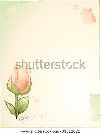 Vintage background customizable with rose, vector - stock vector