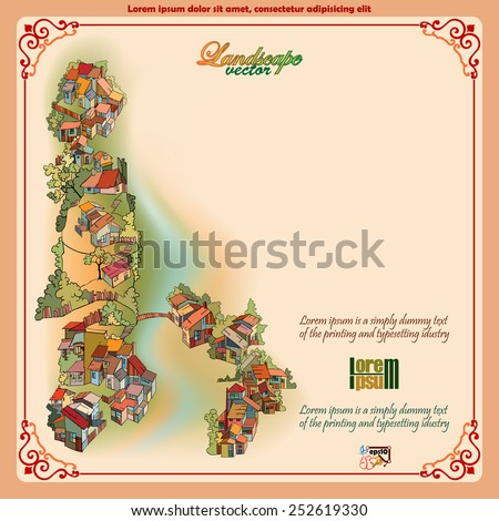 Vintage background depicting a landscape with a small village on peak, tree, hills and fleet; Ornamental frame. - stock vector