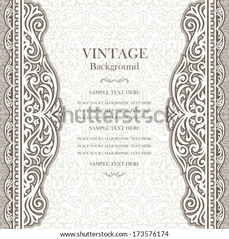 Vintage background design, elegant book cover, victorian style invitation card, beautiful greeting, floral ornamental frame, light certificate template, label, royal luxury ornament, layout for design - stock vector