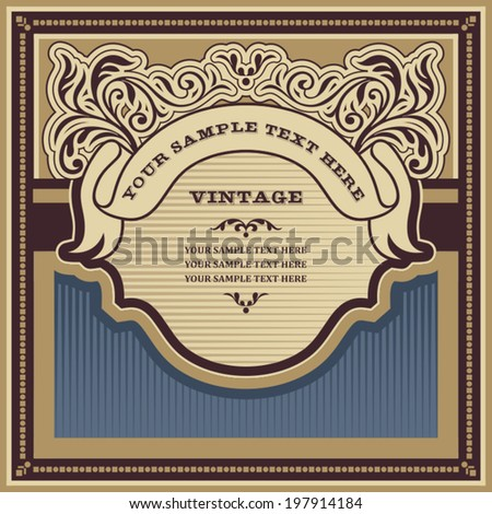 Vintage background design, ornamental label, curly elegant banner, hipster style retro card, artistic frame, elegant book cover, template and layout for design - stock vector