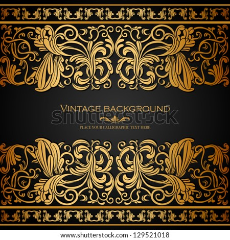 Vintage background, elegance antique, victorian gold pattern - stock vector