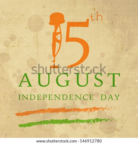 Vintage background for Indian Independence Day with text 15 August and illustration of Amar Jawan Jyoti. - stock vector
