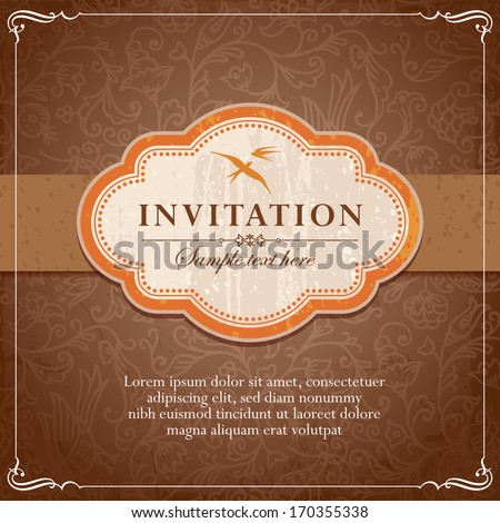 Vintage Background Frame Invitation Template Vector - stock vector