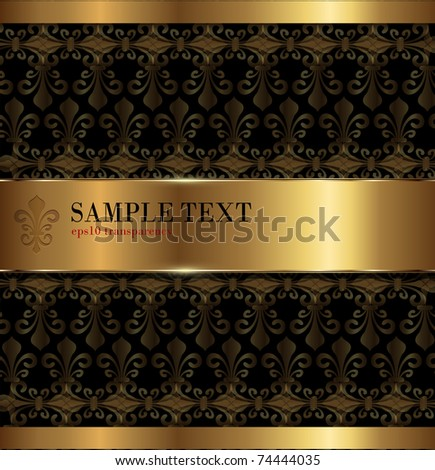 Vintage background gold with lily pattern, vector. - stock vector