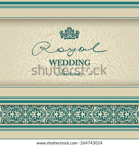 Vintage background, greeting card, invitation with lace ornament, abstract floral pattern template for wedding etc. design - stock vector