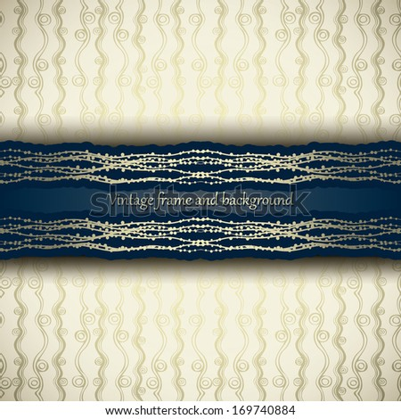 Vintage background, greeting card, invitation with ornament, abstract pattern template for design  - stock vector