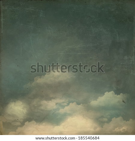Vintage Background - Grungy textured sky background with fluffy white clouds - stock vector