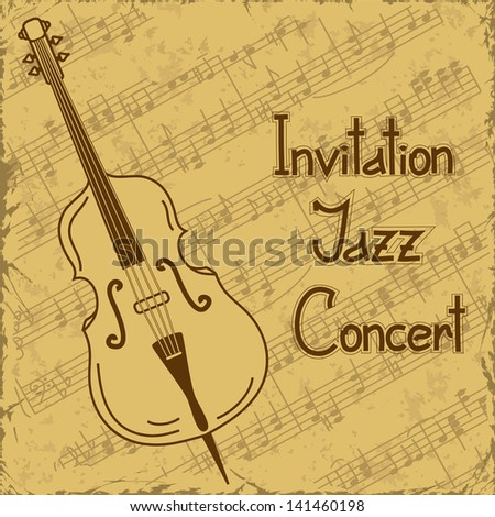 Vintage background of contrabass and music stave