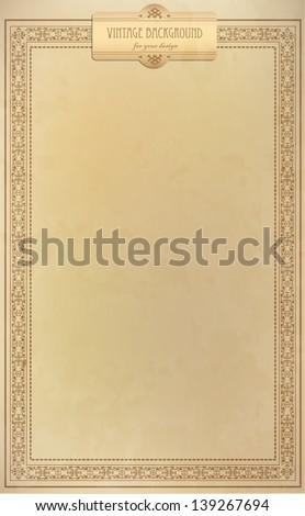 Vintage background, oldfashioned, ripped, grungy paper, ornate, royal, revival frame, old award, victorian ornament, floral luxury ornamental pattern template for decoration and design - stock vector