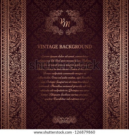 Vintage background on black damask pattern - stock vector