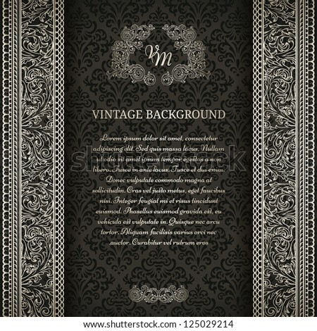 Vintage background on black damask pattern with silver ornament - stock vector