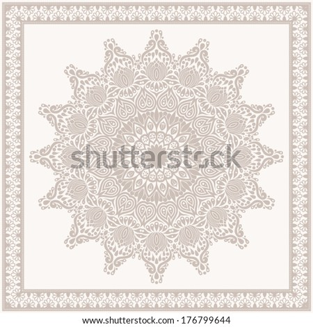 Vintage background, ornamental pattern with frame.  EPS-8. Original author's design, hand-drawn. - stock vector
