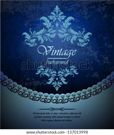 vintage background, ornate card design for greeting card, menu, cover, invitation. - stock vector