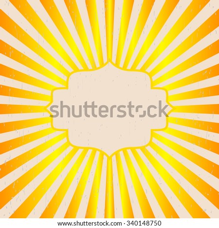 Vintage background rays of the sun. Vintage, grunge style scratched. Label design a poster for text yellow orange vector - stock vector