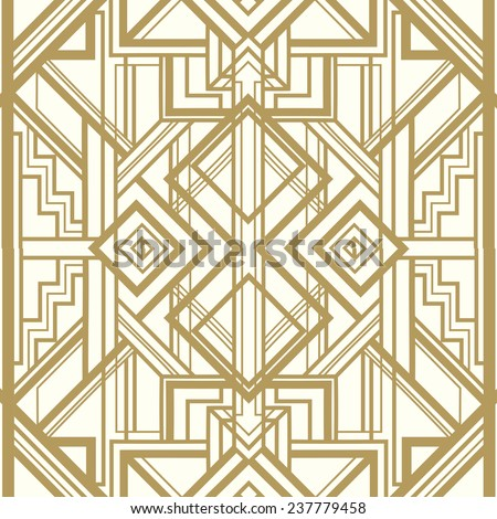 Vintage background. Retro style seamless pattern in gold and white. 1920s  - stock vector