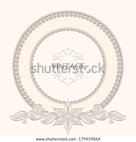 Vintage background, round frame template, ornamental vector label - stock vector