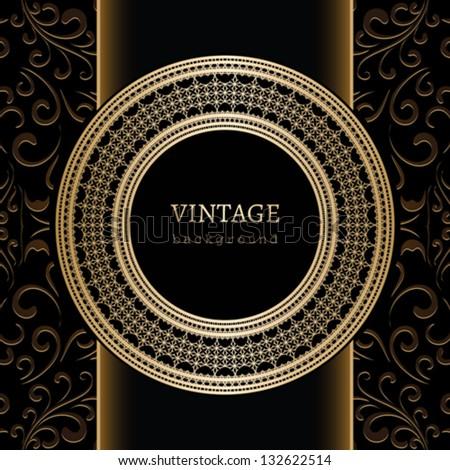 vintage background vector gold ornament decorative round frame