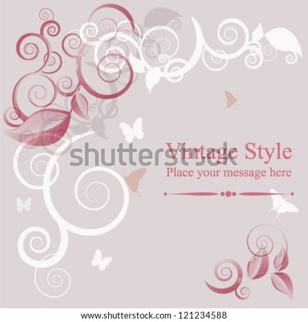 Vintage background vector illustration, floral elements. - stock vector