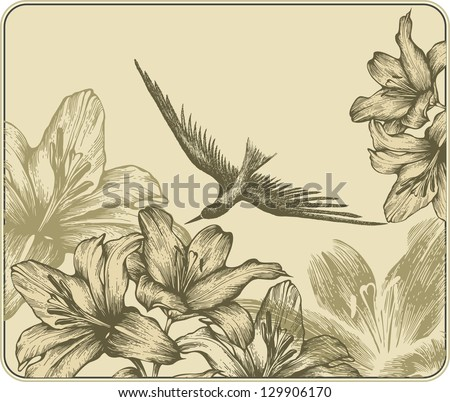 Vintage background with a flying bird and blooming lilies. Vector illustration. - stock vector