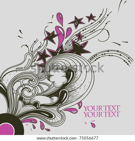 vintage background with a vinyl, stars and fantasy plants - stock vector