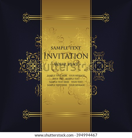 Vintage background with antique luxury gold frame, invitation card, template for design