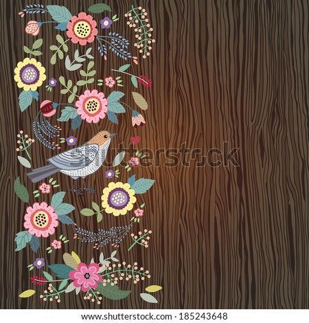 Vintage background with bird and flowers card on a wooden background. Illustration for greeting cards, invitations, and other printing and web projects. - stock vector