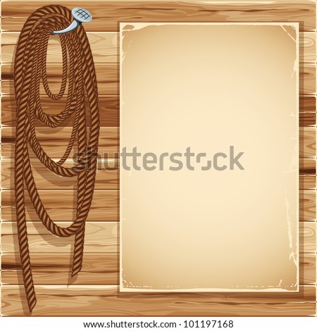 Vintage background with blank page and  hemp rope - stock vector