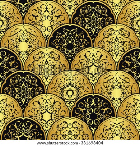 Vintage background with circles. Round lace decoration in a gold. Luxury style
