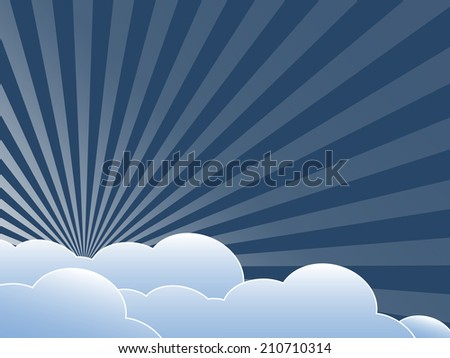 Vintage background with clouds. Flat design illustration.