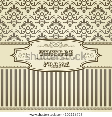 Vintage background with damask pattern in retro style - stock vector