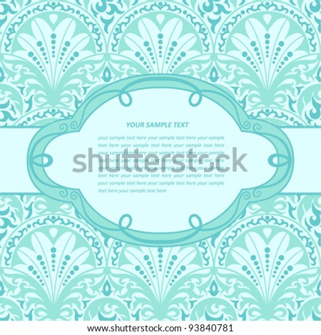 Vintage background with decorative frame; made of seamless pattern. EPS-8; endless floral ornament in vintage style. Original author's design; hand-drawn. - stock vector