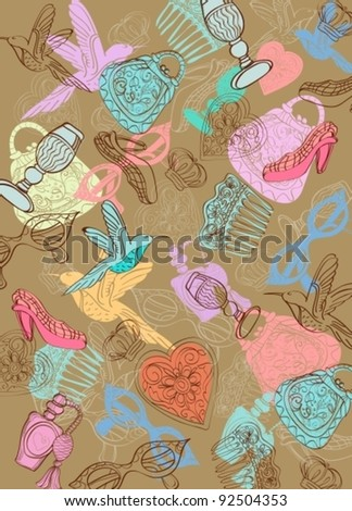 Vintage background with different things, vector - stock vector