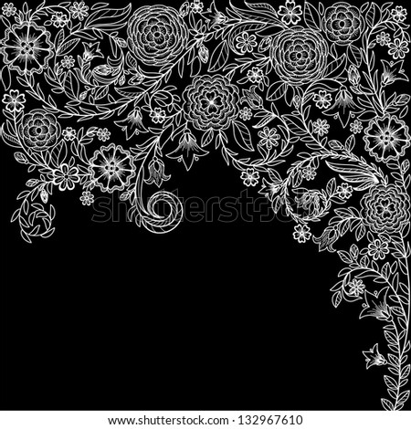 Vintage background with doodle flowers - stock vector