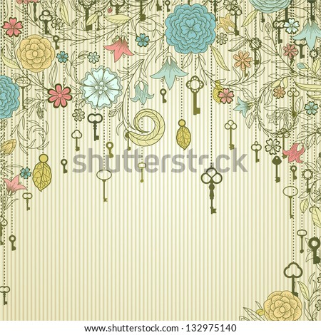 Vintage background with doodle flowers and keys - stock vector